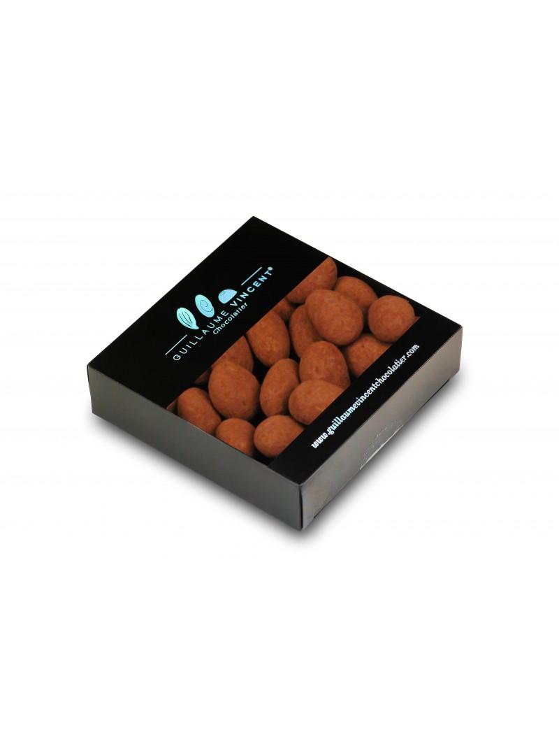 Amandes torréfiées enrobées de gianduja aux noisettes poudrées de cacao demi-amer